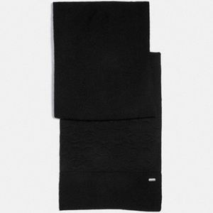 Coach embossed signature black wool knit scarf